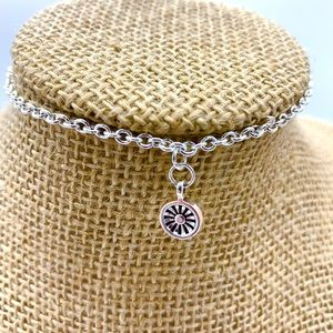 Ankle bracelet Silver chain with flower dangle